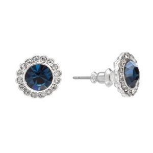LC Lauren Conrad Faux Sapphire Halo Stud Earrings